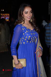 Telugu Actress Tejaswi Madivada Pos in Blue Long Dress at Nanna Nenu Na Boyfriends Audio Launch  0070.JPG