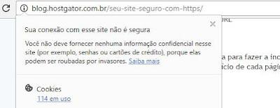Exemplo de mensagem de navegadores em sites sem HTTPS