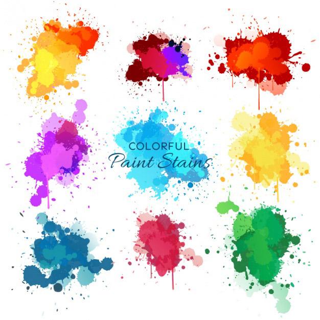 Nine watercolor splashes Free Vector