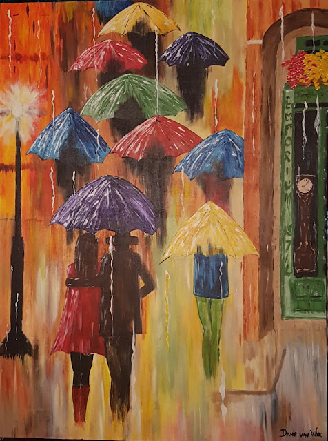 Rainy late afternoon out  - size 30'' x 40'' (762mm x 1016mm)Original acrylic paintings on 380 GSM stretch canvas - 100% pure cotton