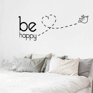 vinilo decorativo pred frase be happy