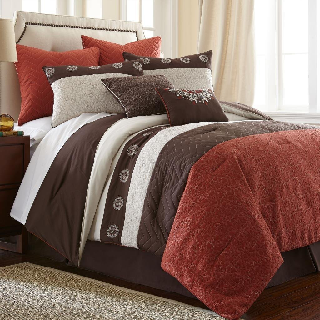 Finest Bright to Burnt Orange and Brown Comforter & Bedding Sets OJ34