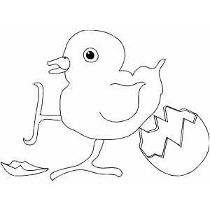 cute baby chick coloring pages - child reading a book coloring page