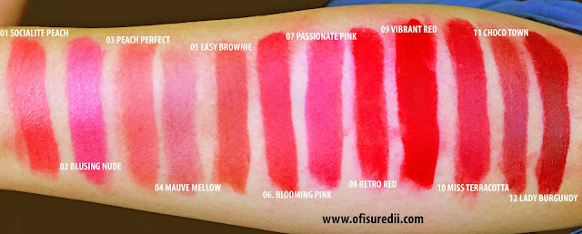 wardah intense matte lipstick swatches lengkap 12 shades