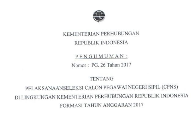 Rekrutmen CPNS Online Kementerian Perhubungan RI 11-25 September 2017