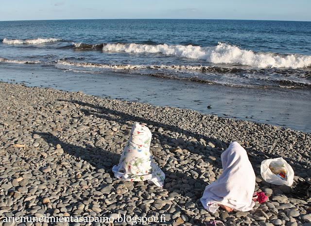 merenranta, atlantti, uimassa, rannalla, lapset