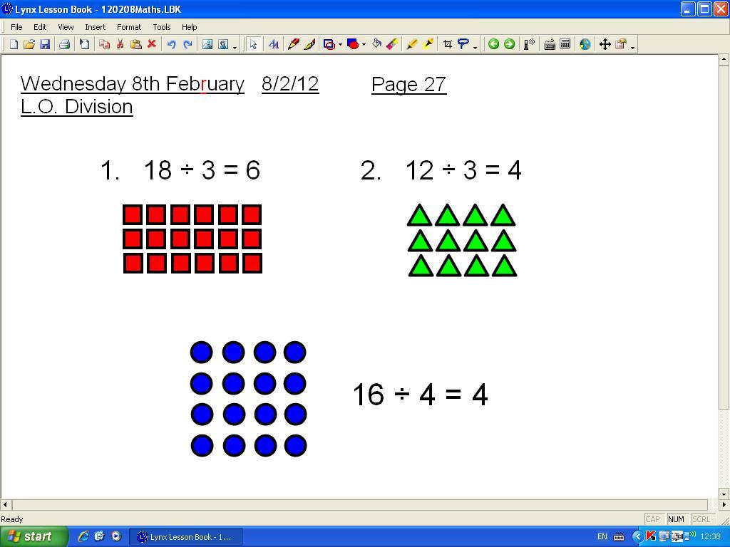 Mr Howe S Class Maths Dividing Using Arrays