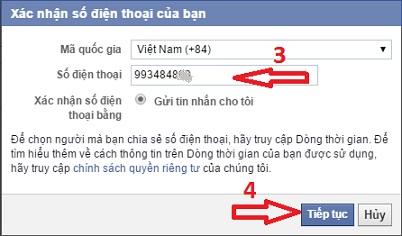 xác nhận tài khoản Facebook 2