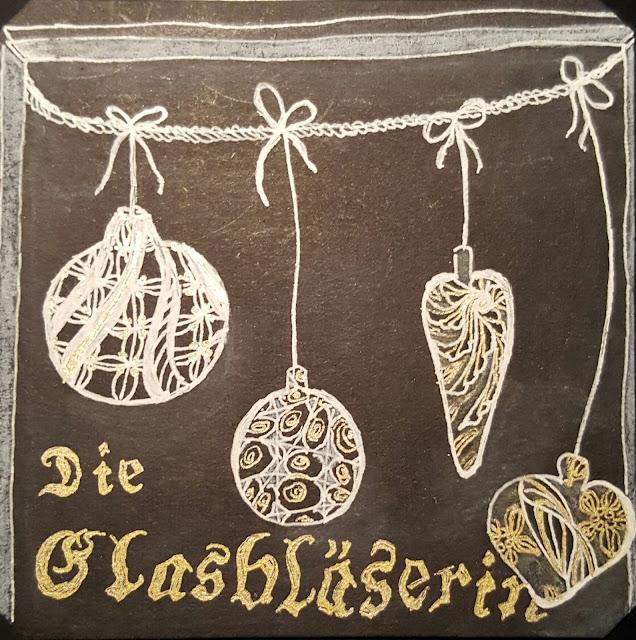 """Glaskugeln mit Zentangle Mustern, inspiriert durch """"Die Glasbläserin"""""""