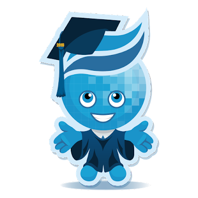 Image of college mascot Splash in graduation cap and gown.