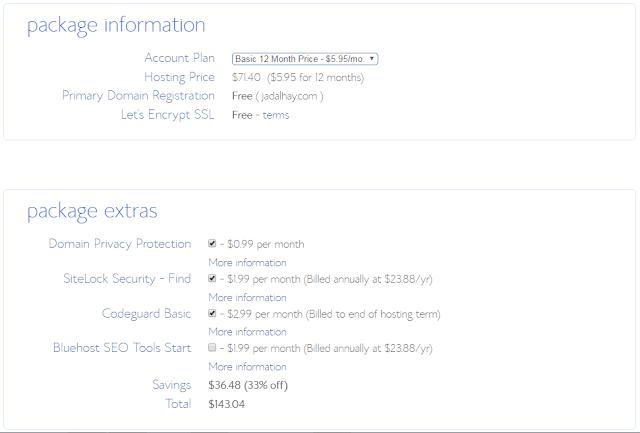 تفاصيل التسجيل في شركة bluehost