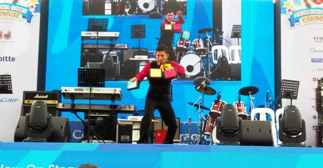 ASEAN Juggler in Singapore performs onstage