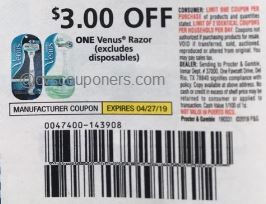 $3/1 Venus Razor (LIMIT 2), 3/31 PG, exp. 04/27/2019