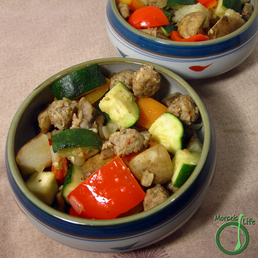 Morsels of Life - Summer Vegetables and Sausage Skillet - A vibrant combination of peppers, onions, zucchini, potatoes, and sausage provide layer upon layer of taste, textural, and visual appeal.