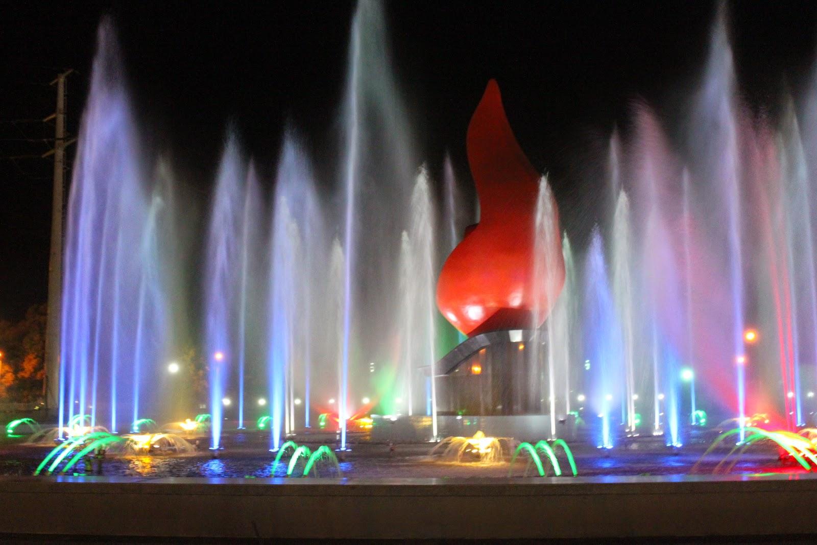 Đèn led âm nước cho đài phun nước tại công viên Chim Việt