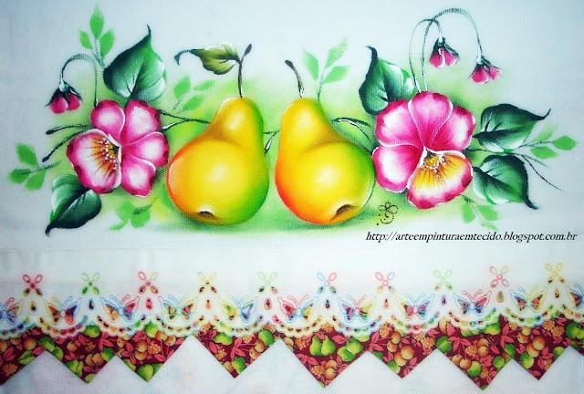 pintura em tecido pano de prato frutas e flores