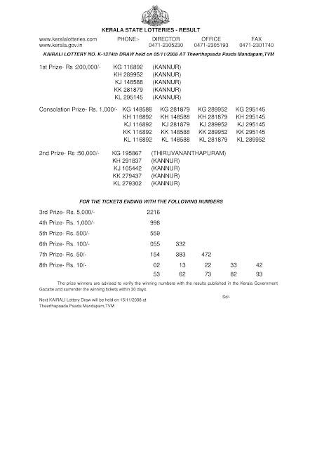 KAIRALI (K-1374) Kerala Lottery Result on November 05, 2008.