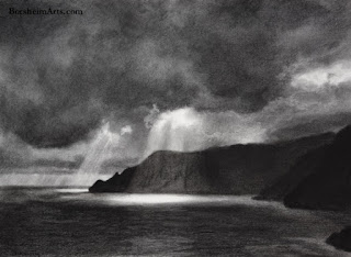 Spotlight original charcoal drawing of sun, clouds sea cliffs Vernazza Cinque Terre Italy