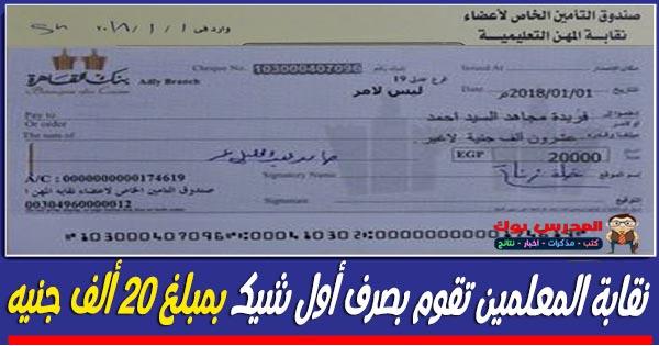 الزناتي يوقع أول شيك بمبلغ 20 ألف جنيه للمعلمين