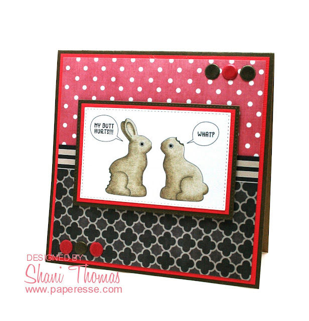 Funny Easter card with Pretty Cute Stamps Bunny Conversation digital stamp, by Paperesse.