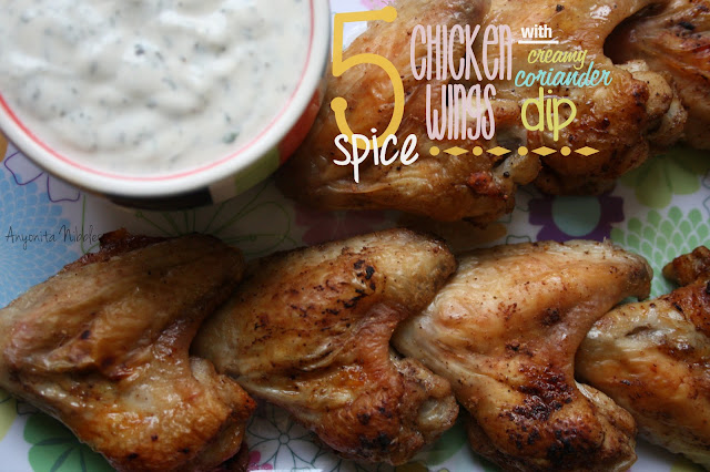 5 Spice Chicken Wings with Creamy Cilantro Dip