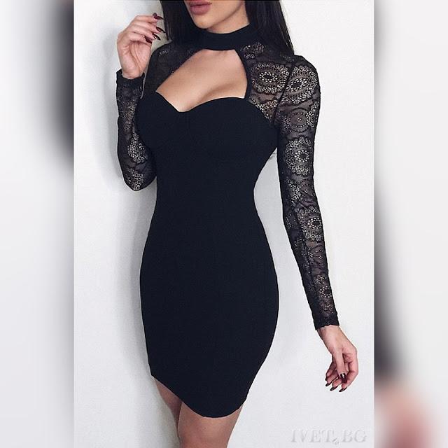 Εντυπωσιακό μίνι μαύρο φόρεμα NEDA