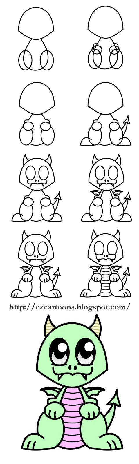 Easy To Draw Cartoons: How To Draw A Dragon