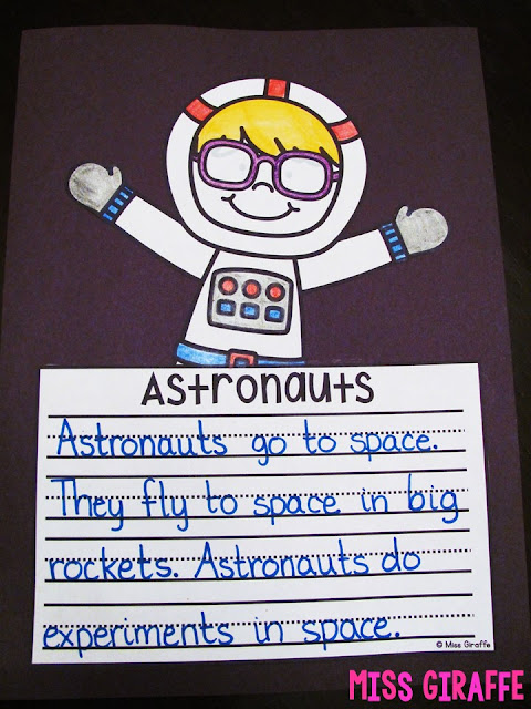 Astronauts writing craft perfect for your space unit in first grade or kindergarten - so many other cute space activities ideas
