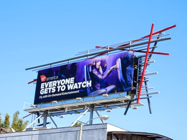 Virgin America Everyone gets to watch billboard