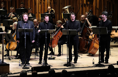 Allan Clayton, Peter Tantsits, Mark Stone, Joshua Bloom, Britten Sinfonia - Gerald Barry: Alice's Adventures Under Ground - photo Mark Allan/Barbican