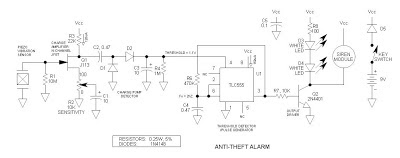 Bicycle Anti-Theft Alarm Circuit Diagram