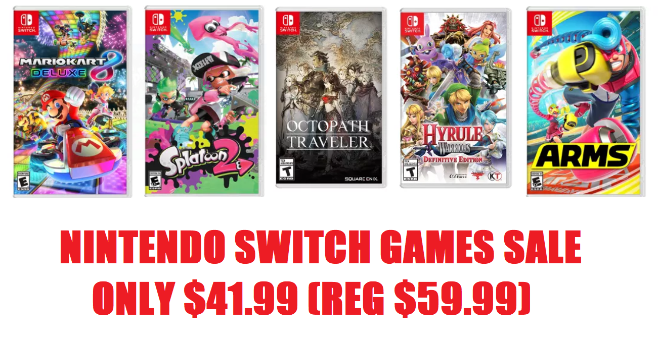 Nintendo Switch Games Sale 41 99 Each Reg 59 99 Free Shipping Choose From Mario Kart 8 Deluxe Splatoon 2 Hyrule Warriors Definitive Edition Arms Or Octopath Traveler Heavenly Steals