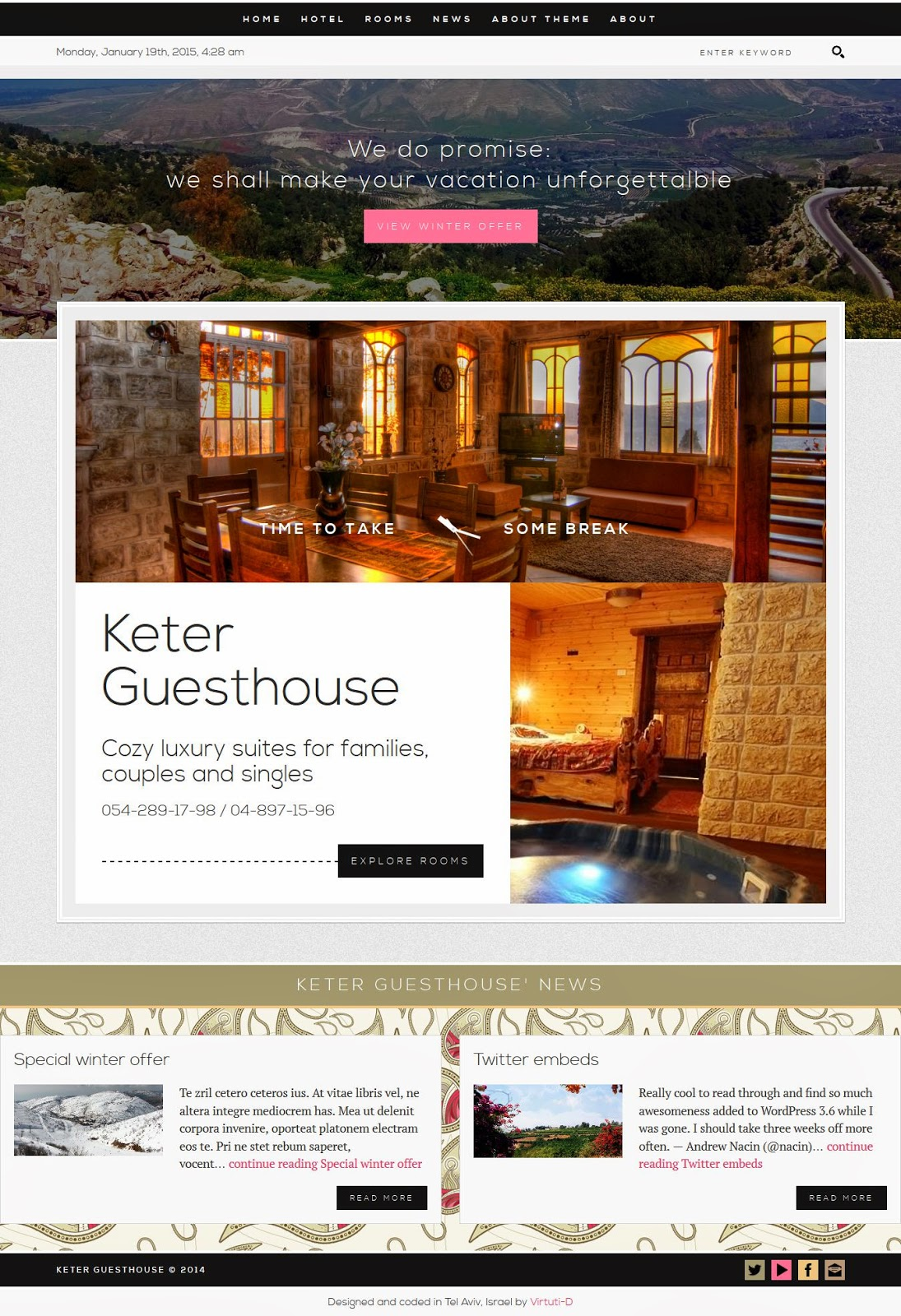 free Hotel Guesthouse WP Theme
