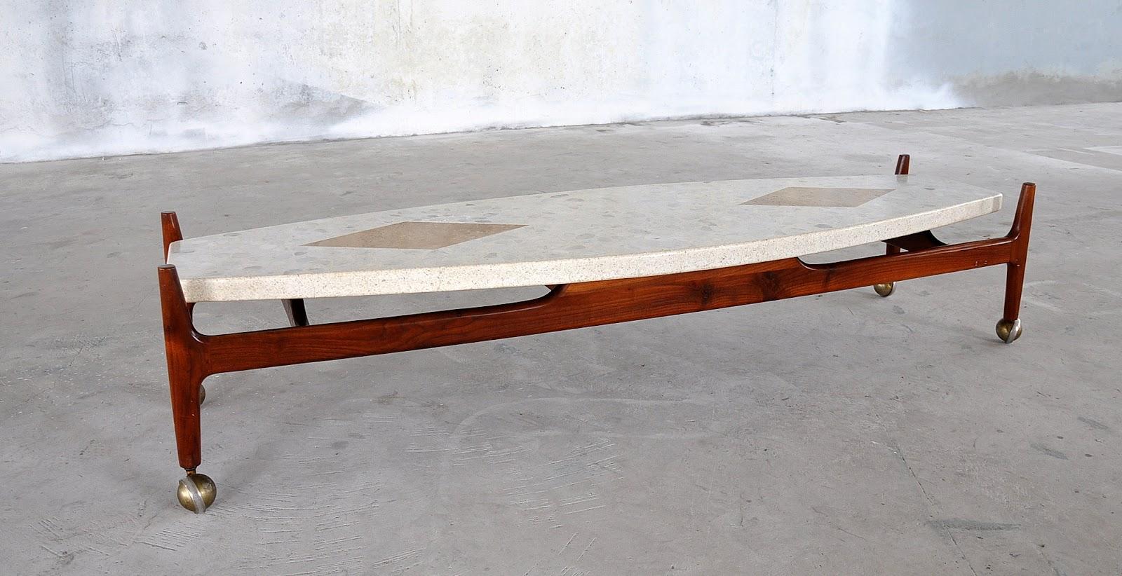 Harvey Probber Marble Terrazzo Travertine Walnut Surfboard Coffee Tail Table