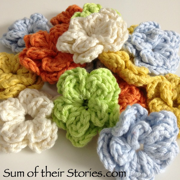 heap of crochet flowers