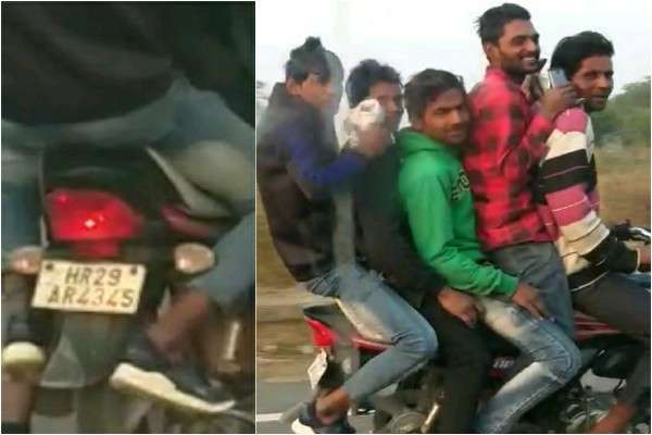 faridabad-naharpar-sector-76-5-youth-seen-on-a-bike-traffic-police-need-action