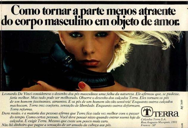 Propaganda dos Calçados Terra para promover sua linha masculina