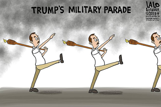 Title:  Trump's military parade.  Image:  Scrawny white guys carrying Tiki Torches as they goose-step along with their right arms raised in Nazi salute.
