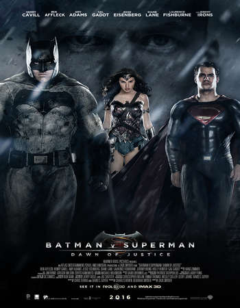 Poster Of Batman v Superman Dawn of Justice 2016 Dual Audio 720p HDTS [Hindi - English] Free Download Watch Online