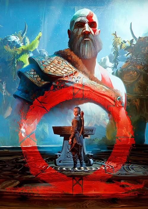 Atreus em primeiro plano e Kratos ao fundo, enlaçados por uma runa