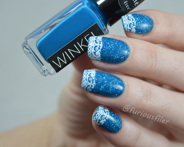 french lace nails holographic glitter winkel frozen #159