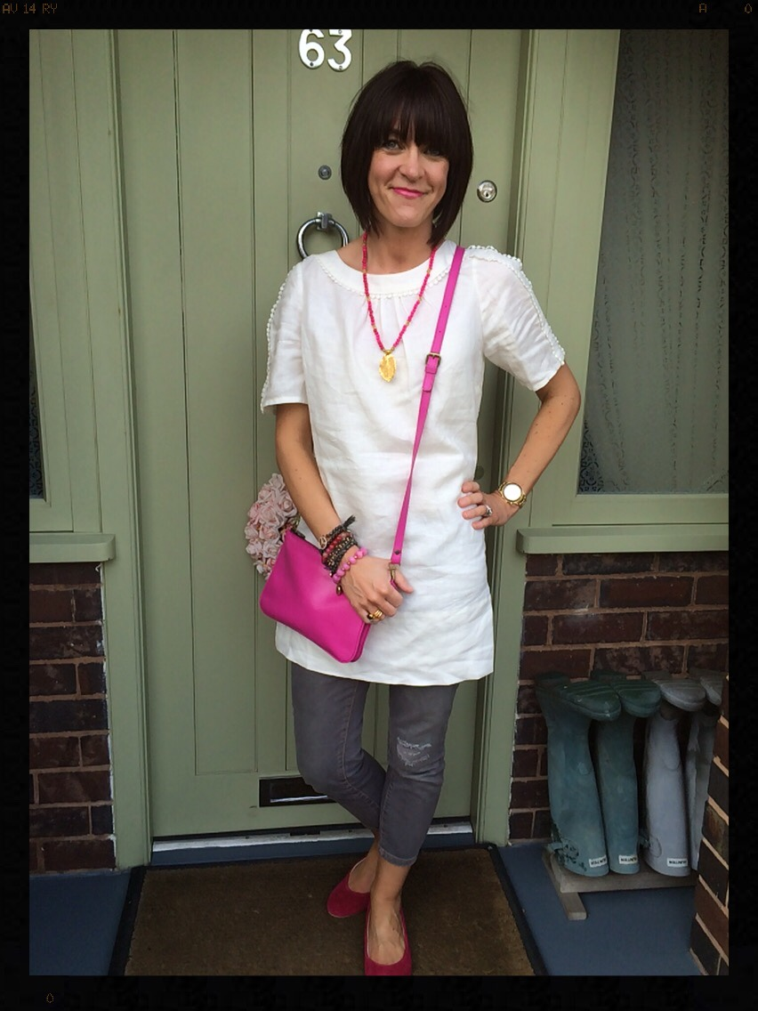 My Midlife Fashion, Boden, Zara, Circle Crochet Tunic, Cigarette Jeans, Cross Body Bag, Great British Flats