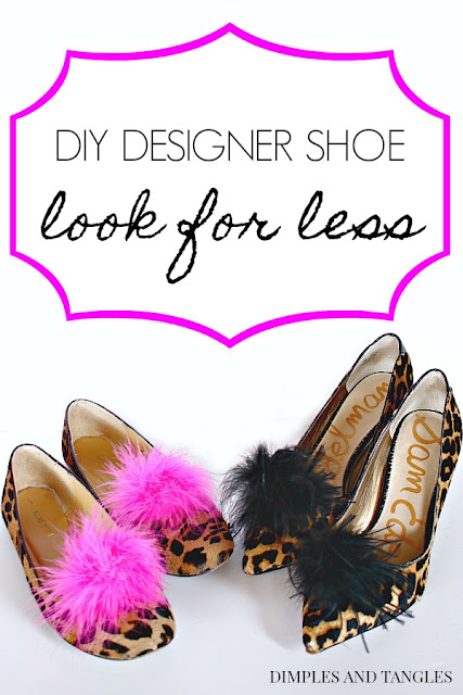 DIY designer shoe look for less, leopard heels, feather shoe clip