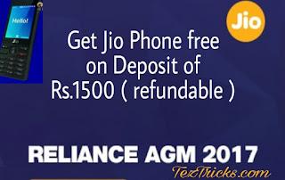 Jio Phone free, Launched by Mukesh Ambani, On deposit of Rs.1500 refundable