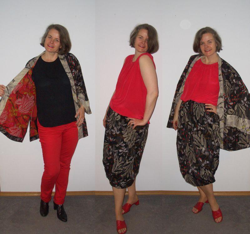 Kimono und Ballonrock an großen Frauen ue40 Sommer 2017
