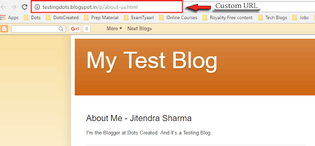 Custom Page URL in Blogger - Dots Created