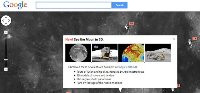 Google Moon استكشاف القمر بتقنية 3D