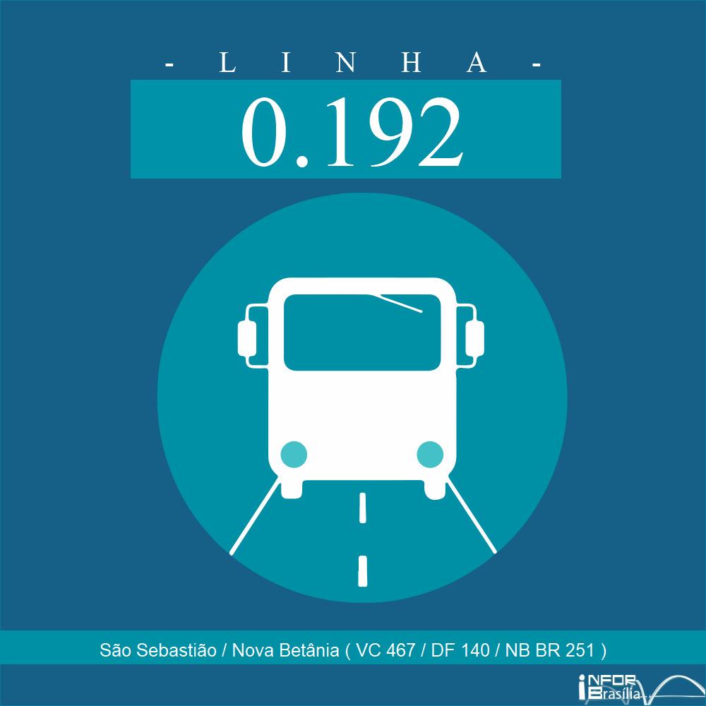 Horário de ônibus e itinerário 0.192 - São Sebastião / Nova Betânia ( VC 467 / DF 140 / NB BR 251 )
