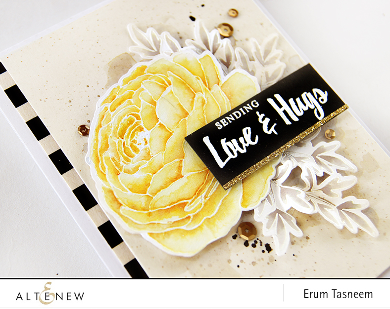 Altenew Build-a-Flower: Ranunculus Release. Watercolouring using Metallic Ink Sprays. Card by Erum Tasneem - @pr0digy0