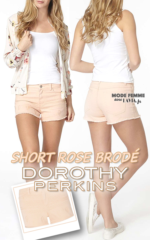 Short rose pâle brodé DOROTHY PERKINS
